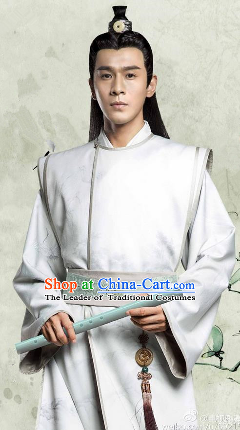 Traditional Ancient Chinese Northern and Southern Dynasties Prince Costume, The Entangled Life of Qingluo Nobility Childe Hanfu Robe Clothing and Headpiece Complete Set