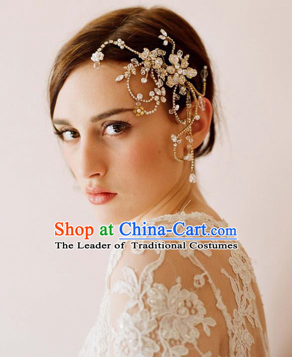 Top Grade Handmade Wedding Bride Hair Accessories Forehead Ornament, Traditional Princess Baroque Hair Stick Headpiece for Women