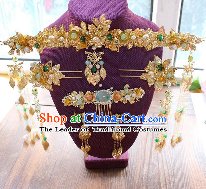 Top Grade Chinese Handmade Wedding Hair Accessories, Traditional China Xiuhe Suit Phoenix Coronet Bride Headwear Hairpins Complete Set for Women