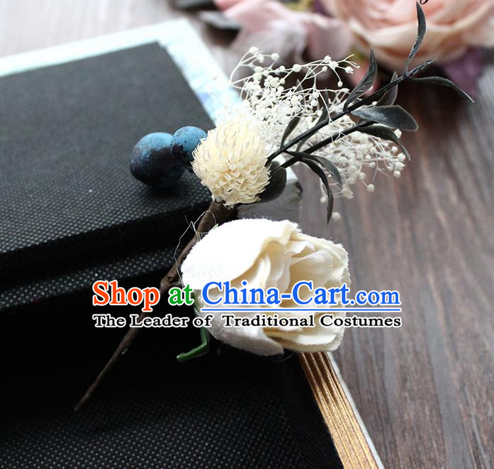 Top Grade Handmade Wedding Bride Hair Accessories Flower Hairpin, Traditional Princess Brooch Wedding White Rose for Women