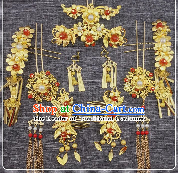 Top Grade Chinese Handmade Wedding Hair Accessories, Traditional China Xiuhe Suit Phoenix Coronet Bride Tassel Hairpins Complete Set for Women