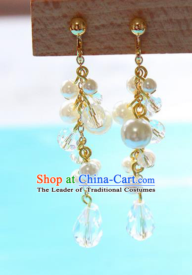 Top Grade Handmade China Wedding Bride Accessories Pearl Earrings, Traditional Princess Crystal Wedding Eardrop for Women