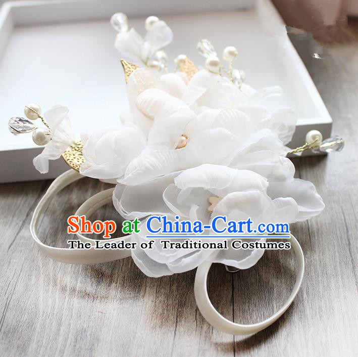 Top Grade Handmade Wedding Bride Hair Accessories White Flower Hairpin Hair Clip, Traditional Princess Baroque Pearl Headpiece for Women