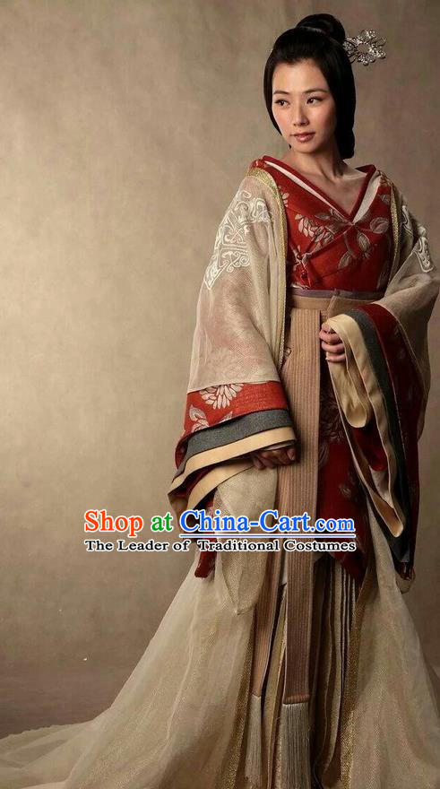Traditional Ancient Chinese Imperial Princess Costume and Headpiece Complete Set, Elegant Hanfu Clothing Chinese Han Dynasty Dowager Embroidered Dress Clothing
