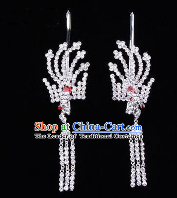 Chinese Ancient Peking Opera Head Accessories Diva Crystal Red Tassel Hairpins, Traditional Chinese Beijing Opera Princess Hua Tan Hair Clasp Head-ornaments