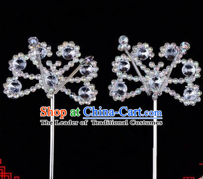 Chinese Ancient Peking Opera Hair Accessories Young Lady Diva White Crystal Beads Hairpins, Traditional Chinese Beijing Opera Hua Tan Head Ornaments Hair Clasp