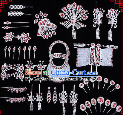 Chinese Ancient Peking Opera Head Accessories Diva Red Crystal Phoenix Coronet Hairpins, Traditional Chinese Beijing Opera Princess Hua Tan Hair Clasp Head-ornaments Complete Set