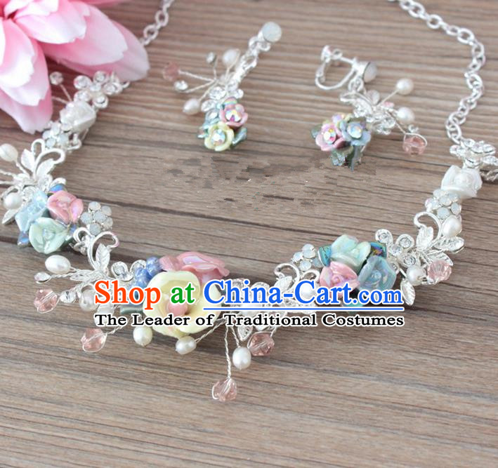 Top Grade Handmade China Wedding Bride Accessories Ceramics Flowers Pearl Necklace and Earrings, Traditional Princess Wedding Earbob Jewelry for Women