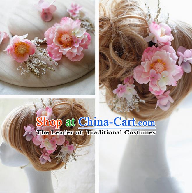 Top grade handmade wedding bride hair accessories pink silk flower top grade handmade wedding bride hair accessories pink silk flower hair stick complete set traditional princess mightylinksfo