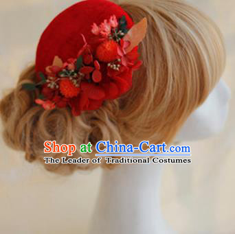 Top Grade Handmade Wedding Bride Hair Accessories Red Flowers Hats, Traditional Princess Baroque Top Hat Headpiece for Women