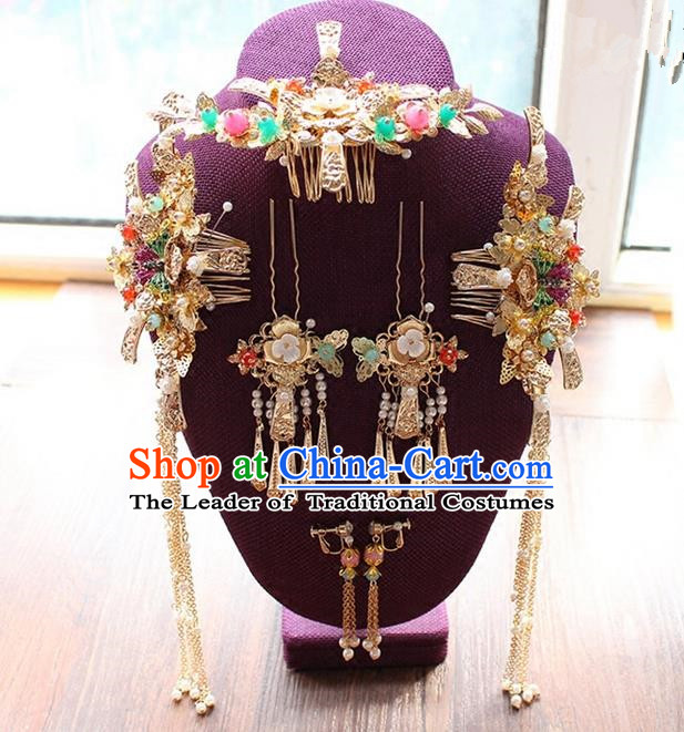 Top Grade Chinese Handmade Wedding Jade Beads Hair Accessories, Traditional China Xiuhe Suit Bride Phoenix Coronet Butterfly Tassel Hairpins Headwear for Women