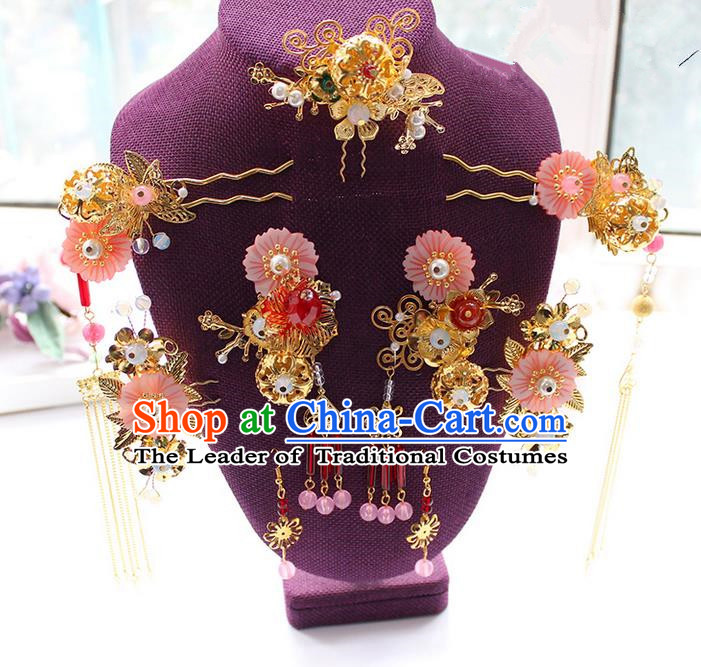 Top Grade Chinese Handmade Wedding Pink Shell Hair Accessories Complete Set, Traditional China Xiuhe Suit Bride Phoenix Coronet Hairpins Headwear for Women
