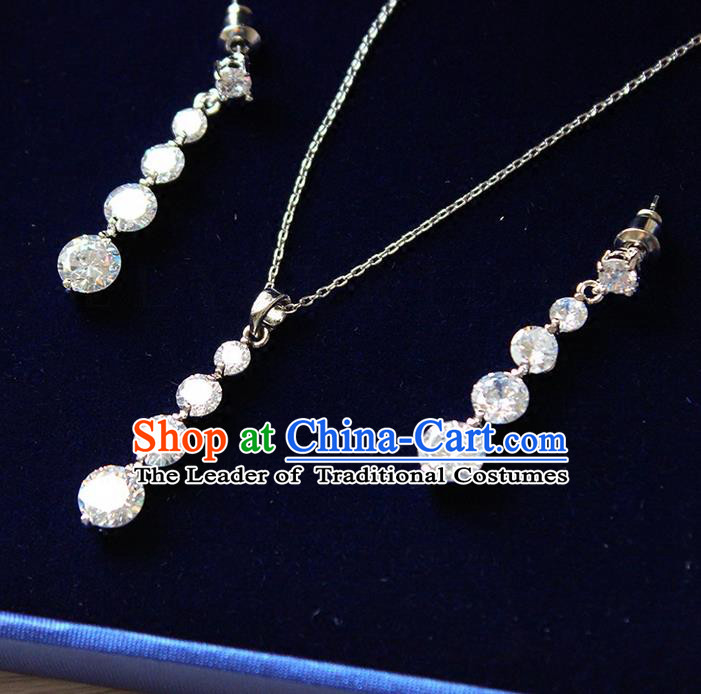 Top Grade Handmade China Wedding Bride Accessories Crystal Necklace and Earrings, Traditional Princess Wedding Earbob Jewelry for Women