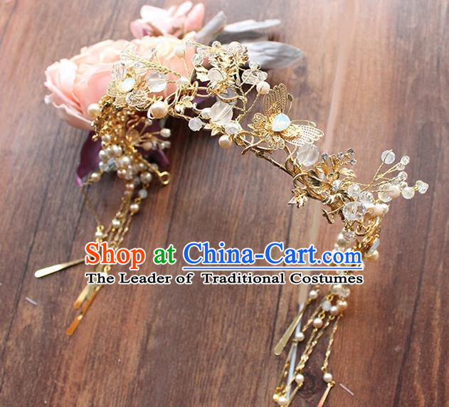 Top Grade Chinese Handmade Wedding Jade Blueing Hair Accessories, Traditional China Xiuhe Suit Bride Phoenix Coronet Butterfly Tassel Hairpins Headwear for Women