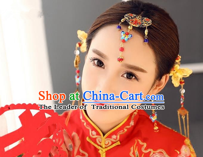 Top Grade Chinese Handmade Wedding Hair Accessories Forehead Ornament, Traditional China Xiuhe Suit Bride Tassel Blueing Hairpins Headdress for Women