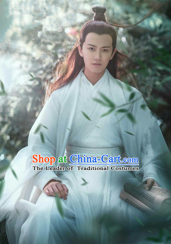 Traditional Ancient Chinese Nobility Childe Costume and Headpiece Complete Set, Elegant Hanfu Prince Clothing Chinese Madam White Snake Scholar Robe Clothing for Men