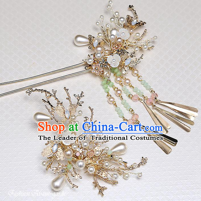 Top Grade Chinese Handmade Wedding Pink Flower Hair Accessories Hair Comb Copmlete Set, Traditional China Xiuhe Suit Step Shake Bride Hanfu Tassel Hairpins Headdress for Women