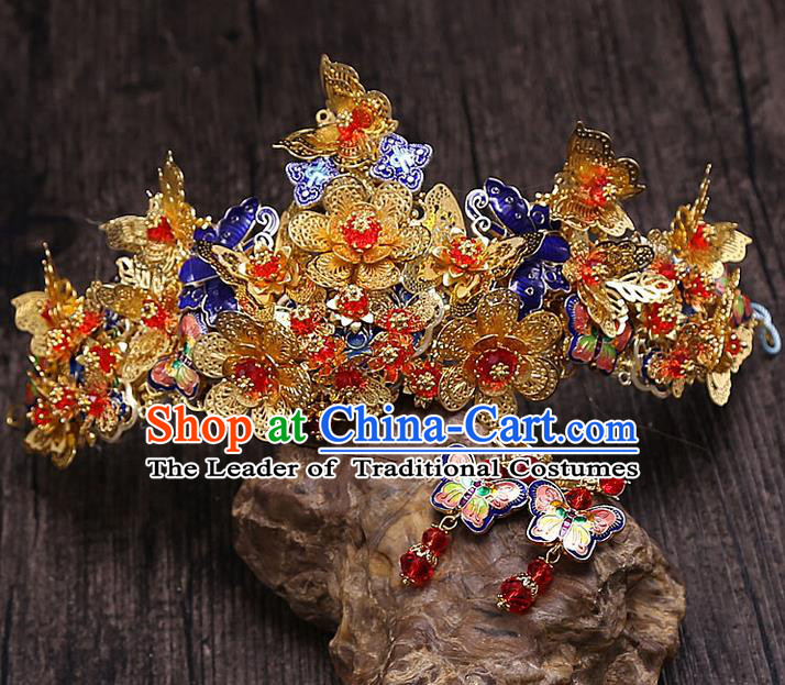 Top Grade Chinese Handmade Wedding Hair Accessories Phoenix Coronet, Traditional China Xiuhe Suit Bride Headdress for Women