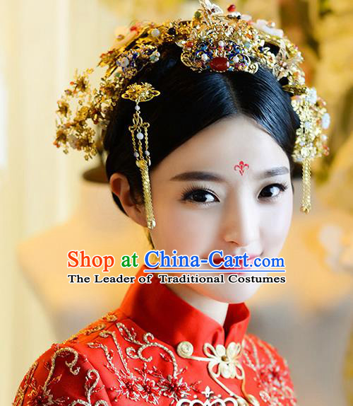 Top Grade Chinese Handmade Wedding Hair Accessories Phoenix Coronet Complete Set, Traditional China Xiuhe Suit Bride Step Shake Tassel Headdress for Women
