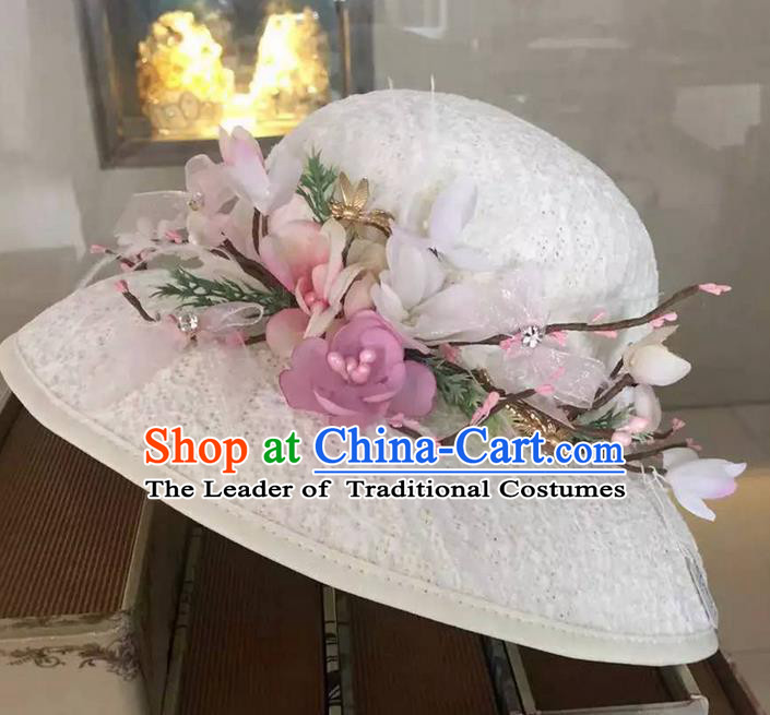 Top Grade Handmade Wedding Hair Accessories Bride Flower Hat, Traditional Baroque Princess Top Hat Headpiece for Women