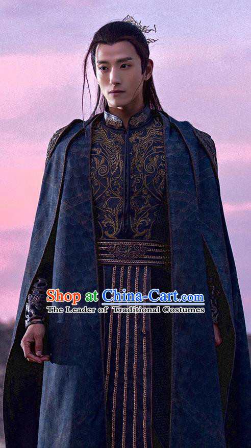Traditional Ancient Chinese Swordsman Costume and Headpiece Complete Set, Chinese Ancient Imperial Prince General Embroidered Clothing for Men