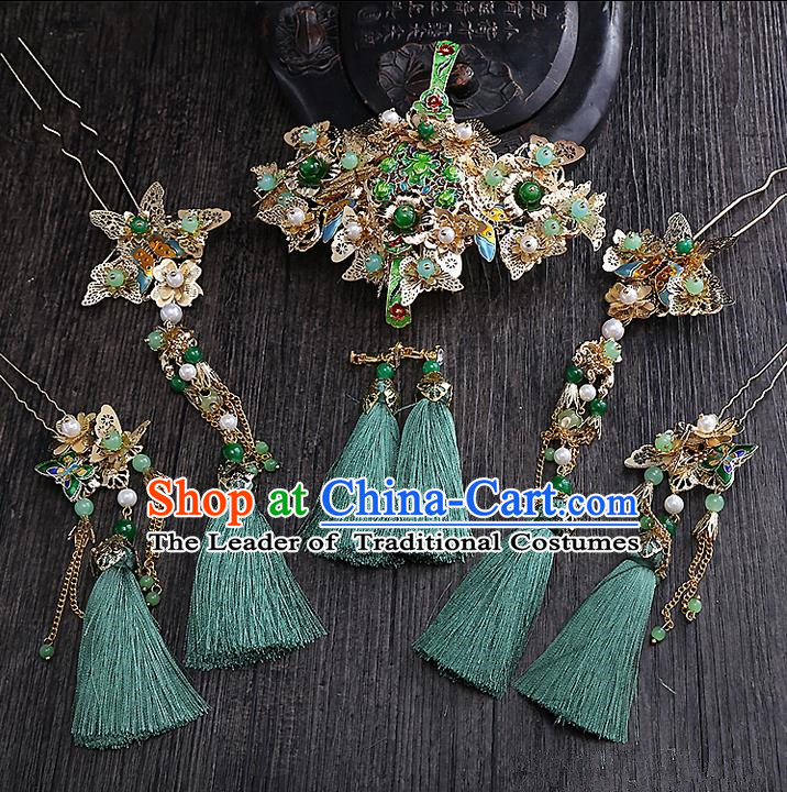 Top Grade Chinese Handmade Wedding Hair Accessories Head Ornament Complete Set, Traditional China Xiuhe Suit Bride Green Tassel Step Shake Headdress for Women