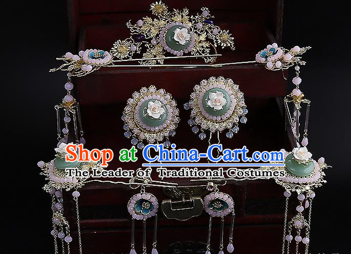 Top Grade Chinese Handmade Wedding Jade Hair Accessories Hair Comb, Traditional China Xiuhe Suit Bride Tassel Headdress Hairpins Complete Set for Women