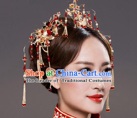 Top Grade Chinese Handmade Wedding Red Beads Hair Accessories Hair Comb, Traditional China Xiuhe Suit Bride Tassel Headdress Hairpins Complete Set for Women