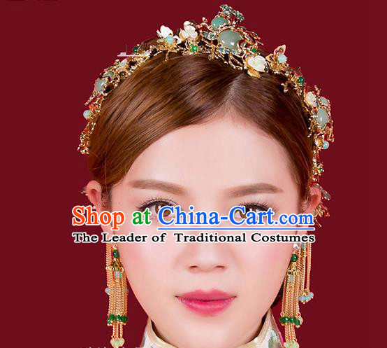 Top Grade Chinese Handmade Wedding Green Jade Hair Accessories Hair Combs, Traditional China Xiuhe Suit Bride Headdress Hairpins Complete Set for Women