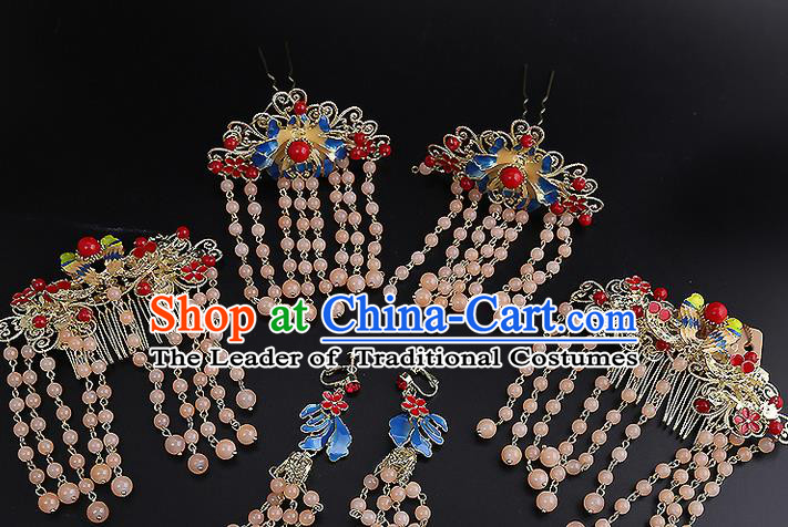 Top Grade Chinese Handmade Wedding Hair Accessories Forehead Ornament, Traditional China Xiuhe Suit Bride Tassel Hairpins Complete Set for Women