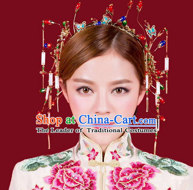 Top Grade Chinese Handmade Wedding Hair Accessories Hair Clasp, Traditional China Xiuhe Suit Bride Butterfly Hairpins Hanfu Tassel Headdress for Women