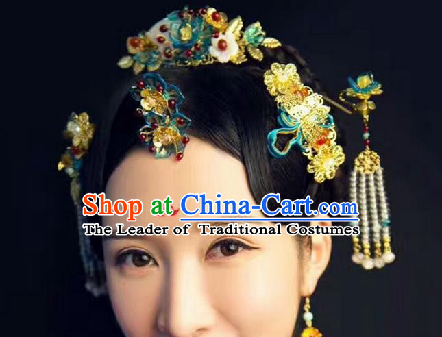 Top Grade Chinese Handmade Wedding Hair Accessories Hair Combs, Traditional China Xiuhe Suit Bride Hairpins Hanfu Tassel Headdress Complete Set for Women