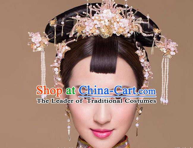 Top Grade Chinese Handmade Wedding Hair Accessories Phoenix Coronet, Traditional China Xiuhe Suit Bride Hairpins Hanfu Tassel Headdress Complete Set for Women