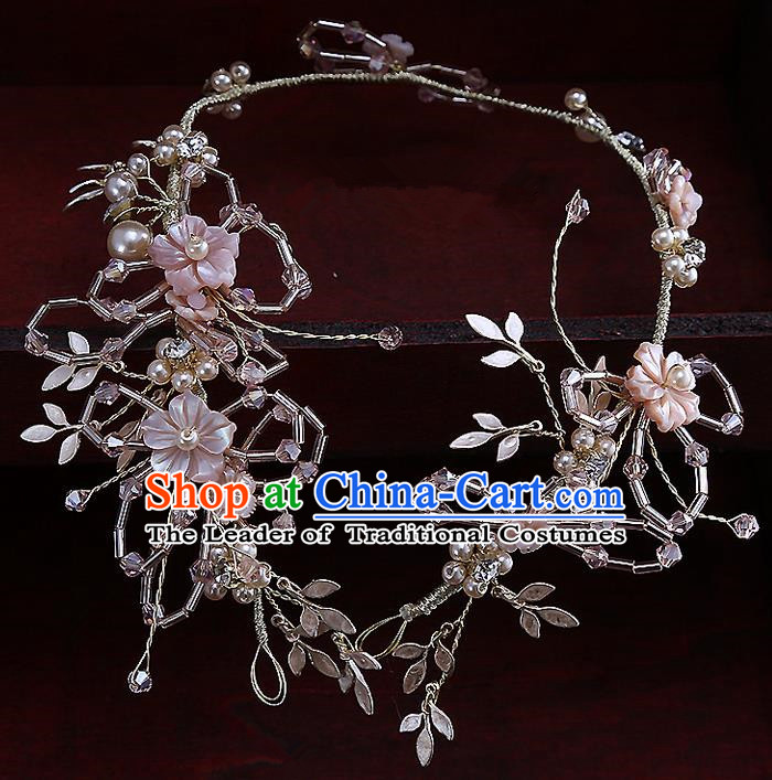 Top Grade Handmade Wedding Dragonfly Hair Accessories Bride Hair Clasp, Traditional Baroque Princess Pink Crystal Headband Hair Stick Headpiece for Women