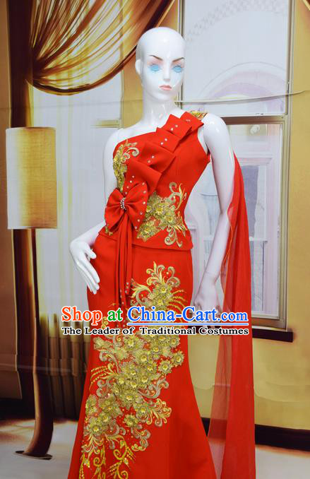 Traditional Traditional Thailand Female Clothing, Southeast Asia Thai Ancient Costumes Dai Nationality Red Wedding Bride Sari Dress for Women
