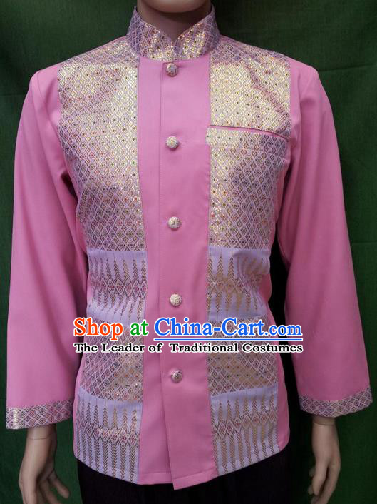 Traditional Traditional Thailand Male Clothing, Southeast Asia Thai Ancient Costumes Dai Nationality Pink Blouse for Men