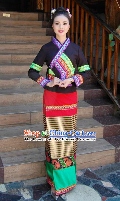 Traditional Traditional Thailand Female Clothing, Southeast Asia Thai Ancient Costumes Dai Nationality Black Sari Dress for Women