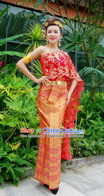 Traditional Traditional Thailand Female Clothing, Southeast Asia Thai Ancient Costume Dai Nationality Red Wedding Bride Sari Dress for Women