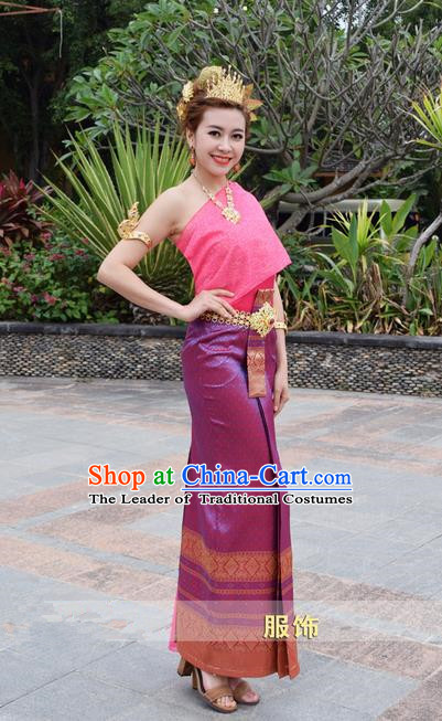 Traditional Traditional Thailand Female Clothing, Southeast Asia Thai Princess Ancient Costume Dai Nationality Wedding Bride Sari Dress for Women