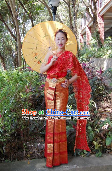 Traditional Traditional Thailand Female Bride Clothing, Southeast Asia Thai Ancient Costumes Dai Nationality Wedding Red Sari Dress for Women