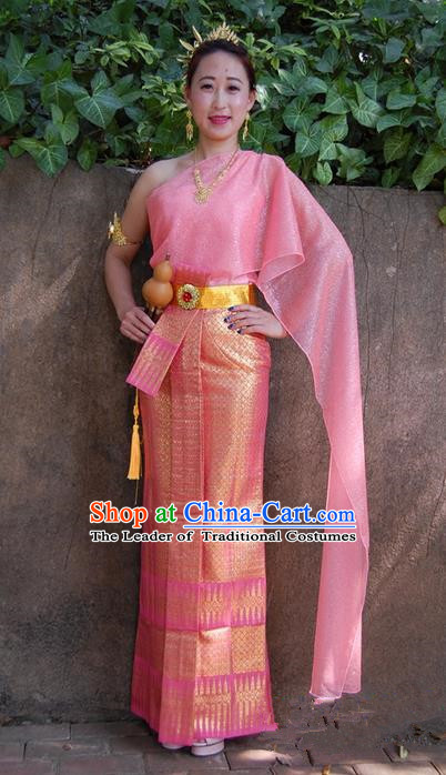Traditional Traditional Thailand Princess Clothing, Southeast Asia Thai Ancient Costumes Dai Nationality Wedding Pink Sari Dress for Women