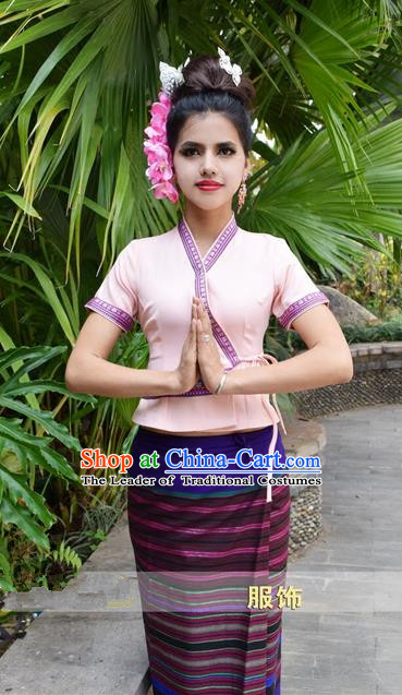 Traditional Traditional Thailand Princess Clothing, Southeast Asia Thai Ancient Costumes Dai Nationality Purple Sari Dress for Women