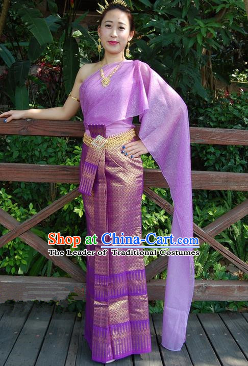 Traditional Traditional Thailand Princess Clothing, Southeast Asia Thai Ancient Costumes Dai Nationality Lilac Sari Dress for Women