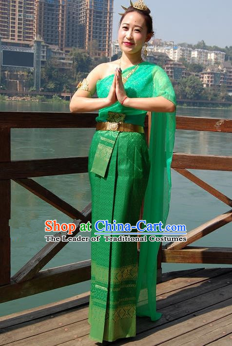 Traditional Traditional Thailand Princess Clothing, Southeast Asia Thai Ancient Costumes Dai Nationality Green Sari Dress for Women