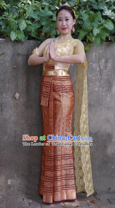 Traditional Traditional Thailand Princess Clothing, Southeast Asia Thai Palace Lady Ancient Costumes Dai Nationality Lilac Sari Dress for Women