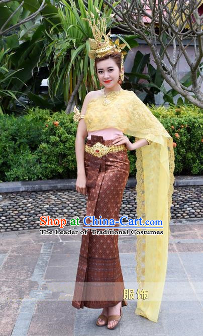 Traditional Traditional Thailand Female Clothing, Southeast Asia Thai Ancient Costumes Dai Nationality Water-Sprinkling Festival Brown Sari Dress for Women