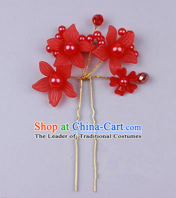 Top Grade Chinese Ancient Peking Opera Hair Accessories Diva Red Flowers Hairpins Step Shake, Traditional Chinese Beijing Opera Hua Tan Hair Clasp Head-ornaments