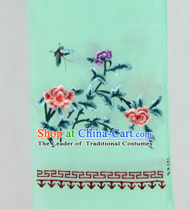 Top Grade Chinese Ancient Peking Opera Accessories Diva Embroidered Belts, Traditional Chinese Beijing Opera Hua Tan Green Waist Towel