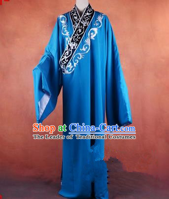 Traditional Chinese Beijing Opera Young Men Blue Clothing, China Peking Opera Scholar Robe Opera Costumes