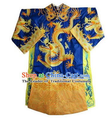 Traditional Chinese Beijing Opera Emperor Clothing, China Peking Opera King Blue Embroidered Dragon Robe Opera Costumes